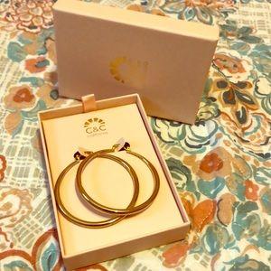 Big gold hoops very cute!
